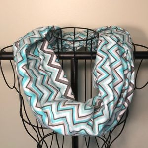 Fleece teal, gray, and white infinity scarf